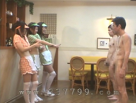 露出狂勃起!CFNMオナクラ風ファミレスで射精を見る女子たちサンプル172