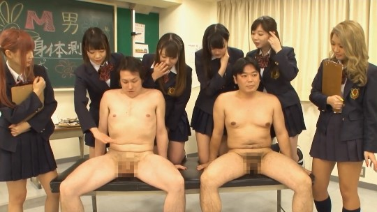 集団CFNM!制服女子校生たちが男子全裸身体測定&射精観察サンプル135
