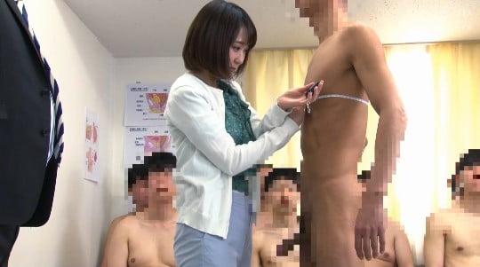 男子の全裸身体測定に新任女教師が参加!CFNM勃起測定で暴発サンプル36