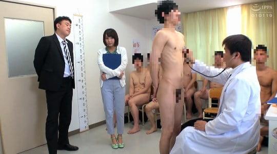 男子の全裸身体測定に新任女教師が参加!CFNM勃起測定で暴発サンプル56